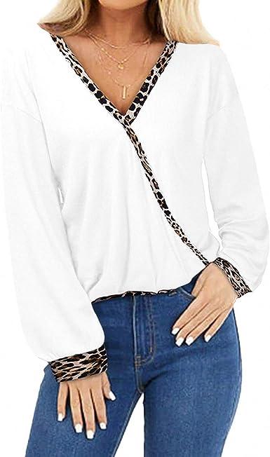 Camiseta De Manga Larga con Cuello En V Suelta con Estampado ...