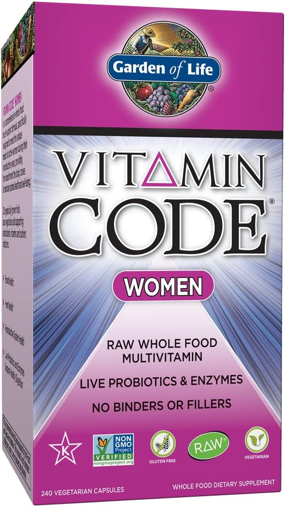 Garden of Life Multivitamin for Women – Vitamin Code Women s Raw Whole Food Vitamin Supplement with Probiotics, Vegetarian, 240 Count