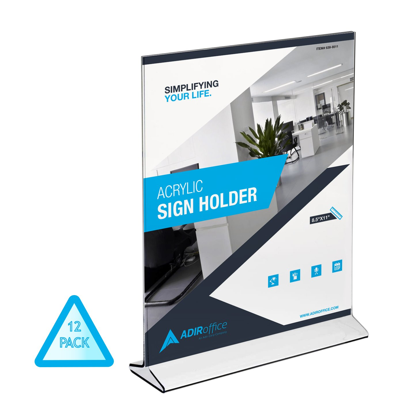 AdirOffice Table Card Display – Portrait Style Menu Ad Frame – Top Insert – Clear Acrylic (12 Pack, 8.5x11)