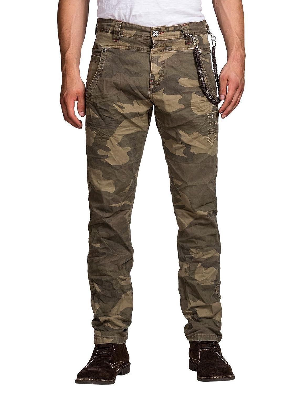 Timezone Herren Hose Normaler Bund, Camouflage 26-0153 LouisTZ chino pants incl. chain