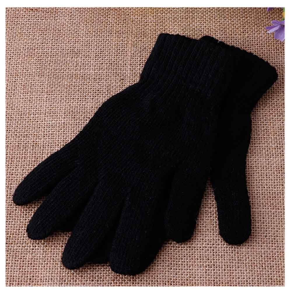 Slaxry Unisex Winter Warm Knitted Full Finger Gloves Men Women Solid Color Mitten (Black)
