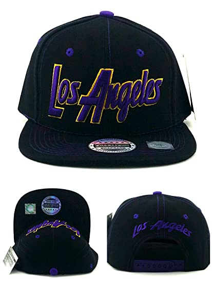 3649084b8bc8d0 Image Unavailable. Image not available for. Color: Headlines Los Angeles  New Leader Lakers Colors Black Purple Piping Era Snapback Hat Cap