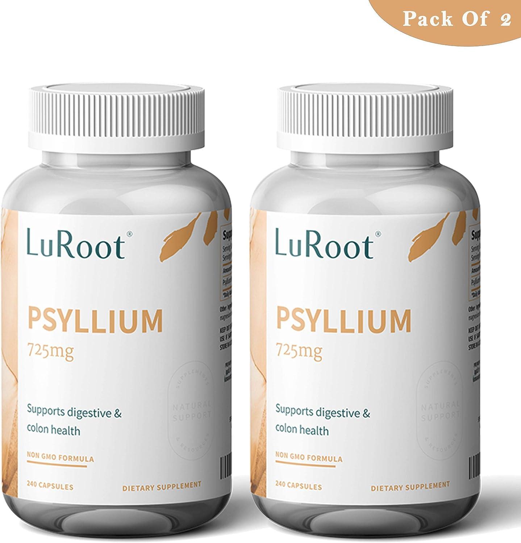 Psyllium Husk Seed Powder Capsules, 240 Capsules - 725 mg per Serving, Made with Organic Non-GMO & Gluten Free psyllium Husk - Soluble Fiber Supplement by LuRoot (Pack 2)