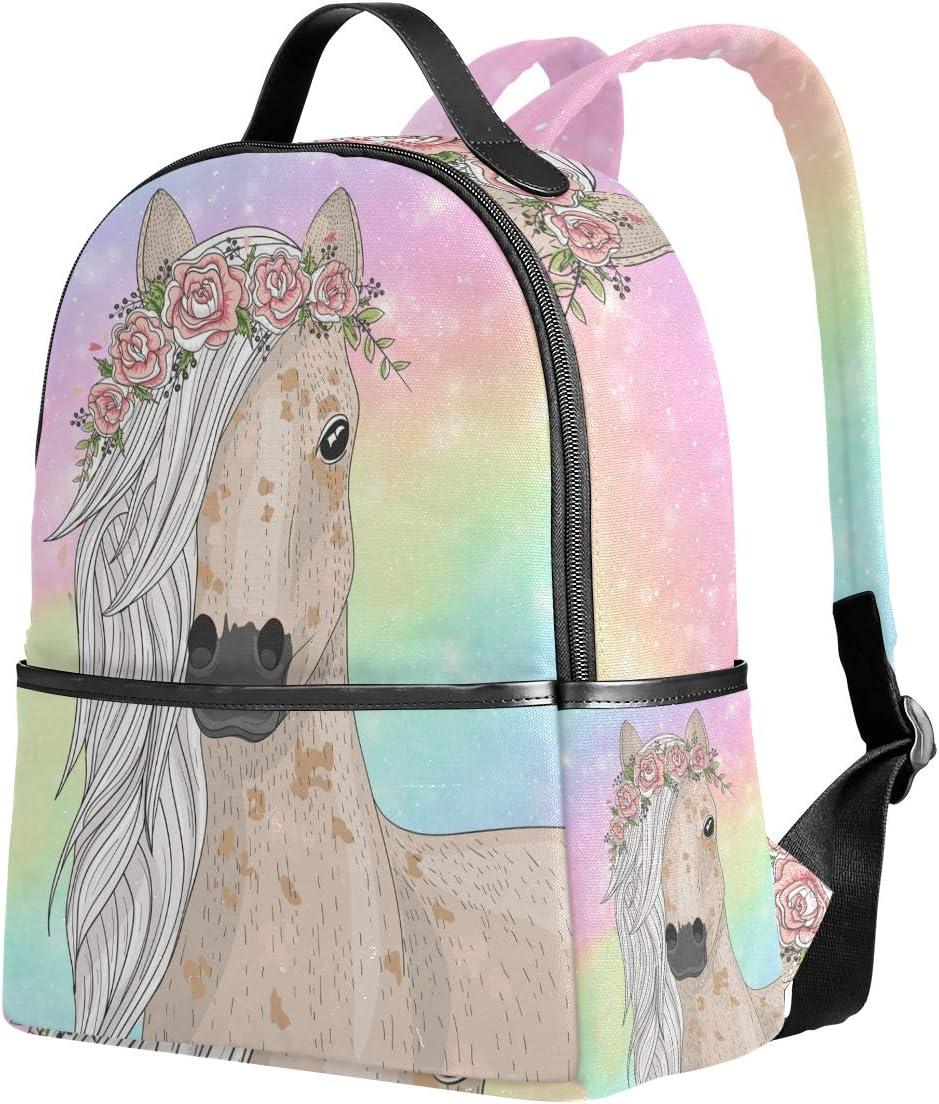 Rainbow Flower Horse Girls Backpacks for Elementary School Cute Bookbag for Kids for 1th, 2nd,3rd Grade