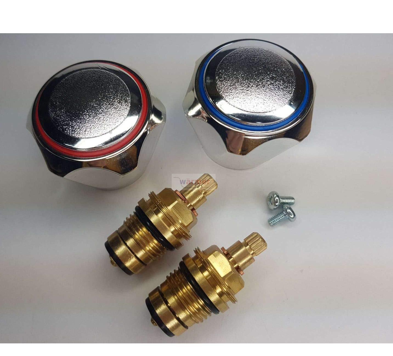 cromate colore: rosso e blu 1,27 cm W/ärmer System Testine di ricambio standard per rubinetti caldi e freddi