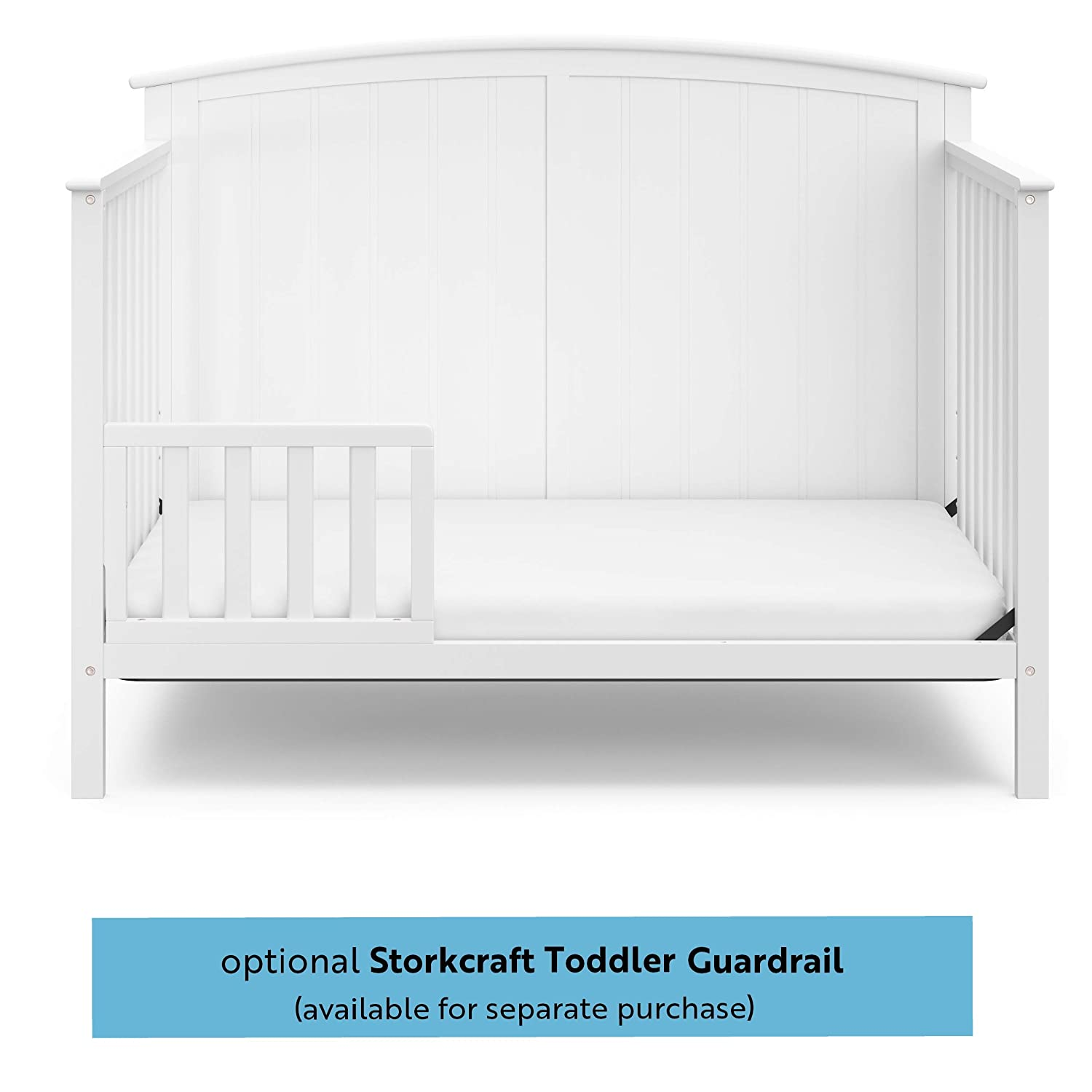 Easily Converts to Toddler Bed Day Bed or Full Bed StorkCraft Steveston 4-in-1 Convertible Crib Some Assembly Required Pebble Gray Three Position Adjustable Height Mattress Mattress Not Included