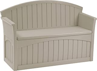 product image for Suncast 50 Gallon Patio Bench with Storage - Decorative Resin Outdoor Patio Bench for Deck, Patio, Garden, Backyard - Ideal for Storing Toys, Cushions, Tools - Taupe ()