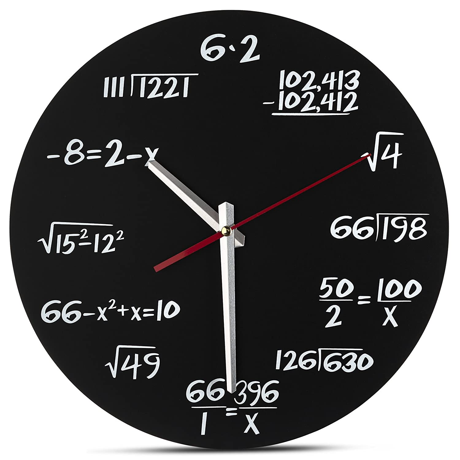 Decodyne Math Clock - Unique Wall Clock - Each Hour Marked By a Simple Math Equation DZ-5005