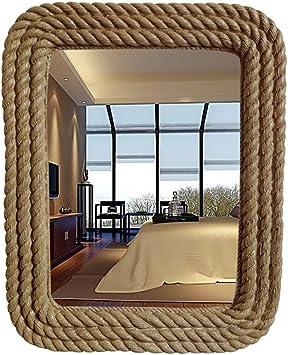 XJRHB Espejo de baño Cuadrado con Cuerda Tallada para Espejo de baño: Amazon.es: Hogar