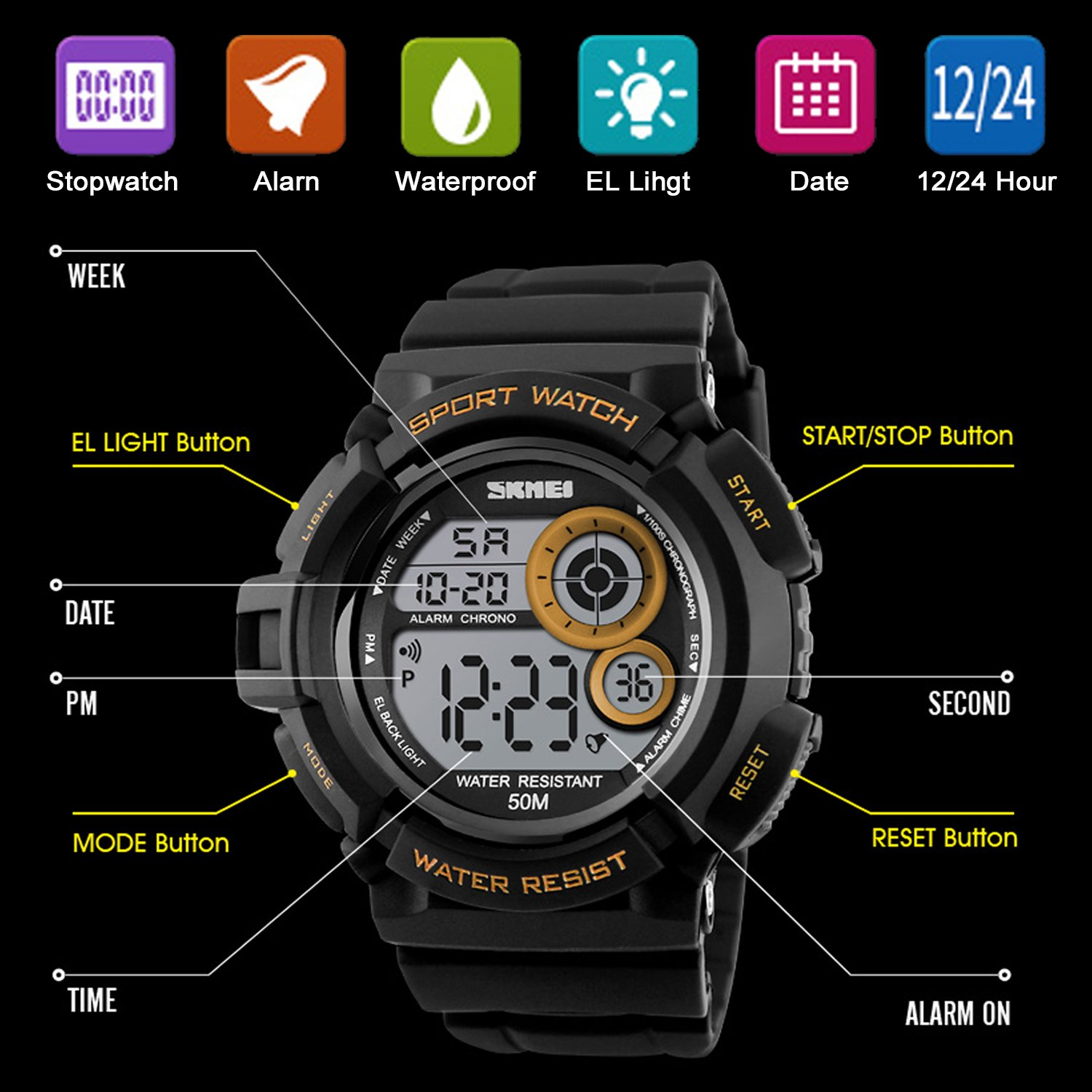 Men's Digital Sports Watch LED Screen Large Face Military Watches and Waterproof Casual Luminous Stopwatch Alarm Simple Army Watch Black by USWAT (Image #5)