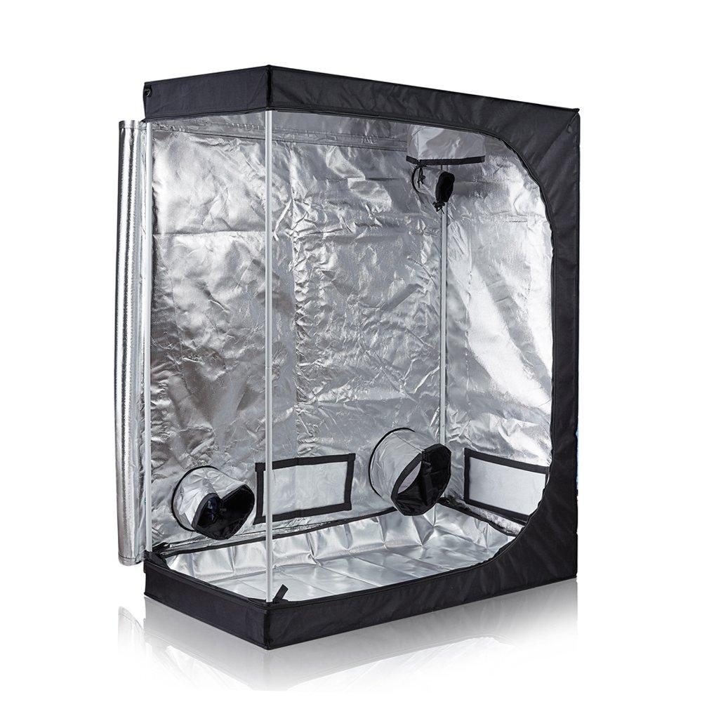 TopoGrow D-Door 16X16X48 Indoor Grow Tent Room 600D Mylar High Reflective Non Toxic Hut
