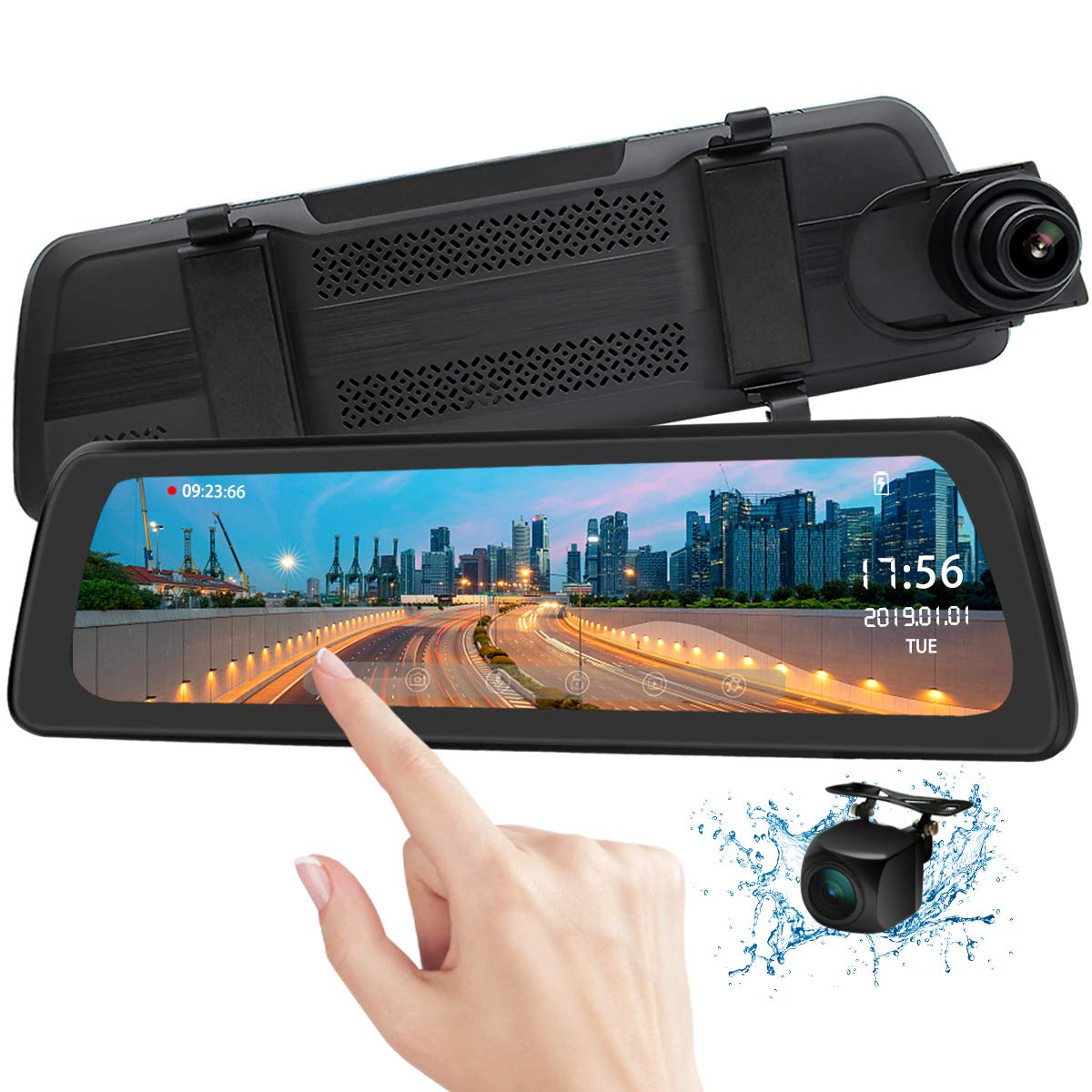 Mirror Dash Cam Backup Camera 9.88'' Full HD Touch Screen Car Dash Camera Stream Media Dual Lens 170° 1080P Front and 150°1080P Rear View Camera with G-Sensor PORMIDO,24 Hour Parking,GPS by PORMIDO