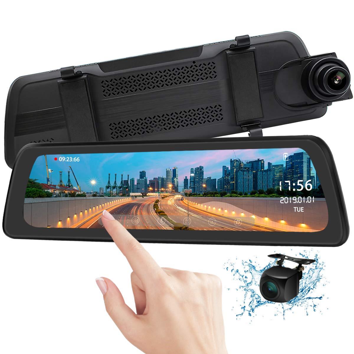 Mirror Dash Cam Backup Camera 9.88'' Full HD Touch Screen Car Dash Camera Stream Media Dual Lens 170° 1080P Front and 150°1080P Rear View Camera with G-Sensor PORMIDO,24 Hour Parking,GPS