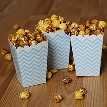 Polka Dot Chevron Pink Trio Stripe Treat Boxes 36 Pack NUIBY Popcorn Boxes Small Movie Theater Popcorn Paper Bags for Dessert Tables /& Wedding Favors Anda Tech