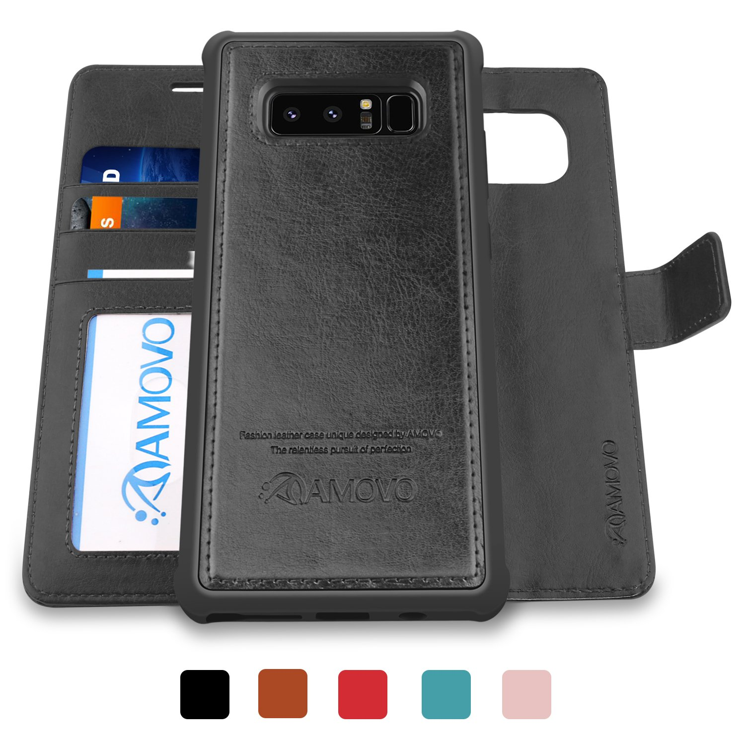 AMOVO Galaxy Note 8 Case [2 in 1]  Samsung Galaxy Note 8 Wallet Case [Detachable Wallet Folio] [Premium Vegan Leather] Samsung Note 8 Flip Cover with Gift Box Package (Black)