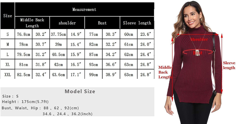 Abollria Womens Turtle Neck Long Sleeve Side Split Chunky Knit Ribbed Sweater Jumper Knitwear Top