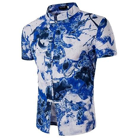 073aa0658c Camisa De Manga Corta Casual con Estampado De Flores Hawaianas En Lino De  Algodón De Los