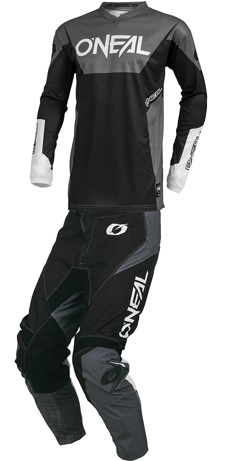 O'Neal - 2019 Element Racewear (Youth Black & Grey Y-Large/Y-26W) MX Riding Gear Combo Set, Motocross Off-Road Dirt Bike Moisture Wicking Jersey & Light Weight Durable Wear Resistant Panels Pant