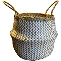 """Natural Craft Seagrass Belly Basket White Zigzag Pattern Small Size Storage Laundry, Picnic, Plant Pot Cover, and Woven Straw Beach Bag (12"""" Diameter x 11"""" Height) for Home Decor"""