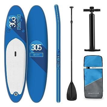 KLAR FIT Tabla Paddle Surf Hinchable - SPREESTAR 300x10x71 cm Sup Surf, Paddleboard, Bomba de Aire, Pala, Correa de Seguridad, Mochila de Transporte, ...