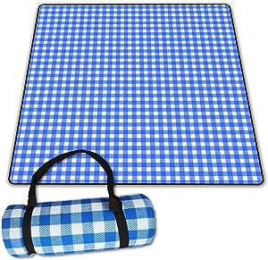 Picnic Blanket Picnic Mat Camping Blanket Beach Blanket 79''X79'' Waterproof mat for Camping Garden Park Travel (Blue-White)