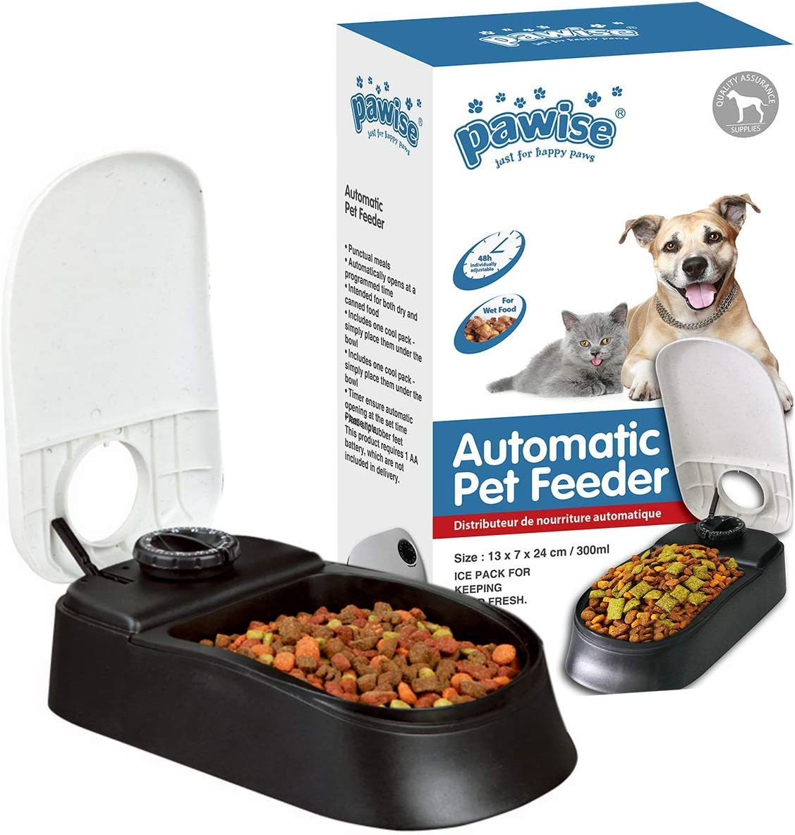 PAWISE Automatic Pet Feeder for Dogs and Cats, 1.5 Cups Food Dispenser Station with 48-Hour Timer - Single