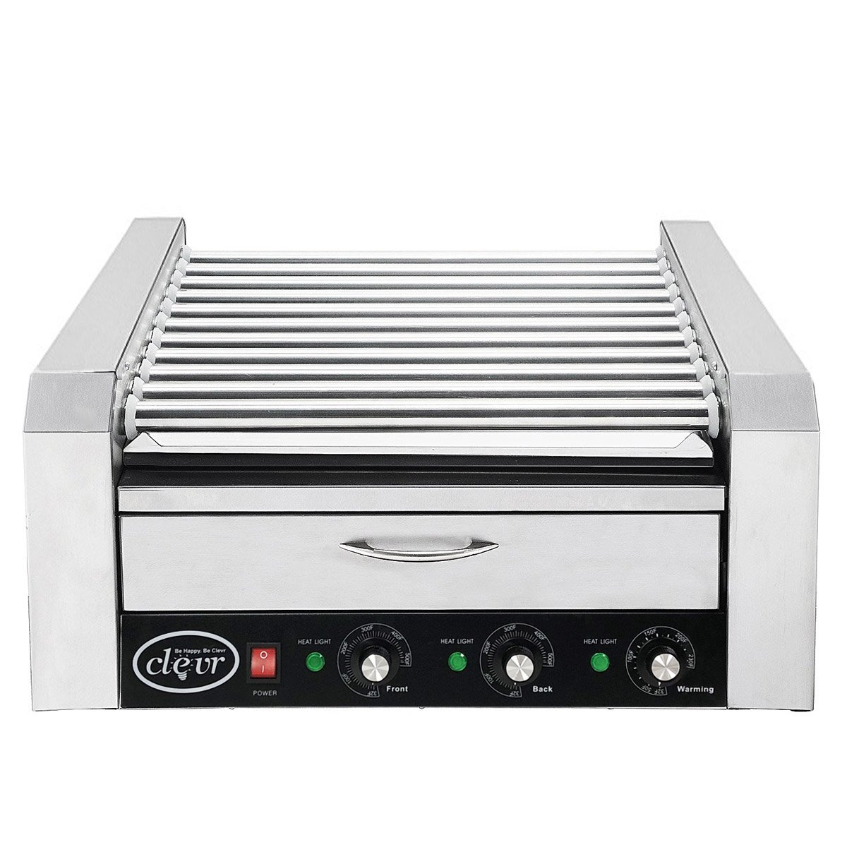 Clevr Commercial 11 Roller and 30 Hotdog Roller Machine, with Bum Warming Drawer, Hot Dog Grill Cooker with Bun Warmer