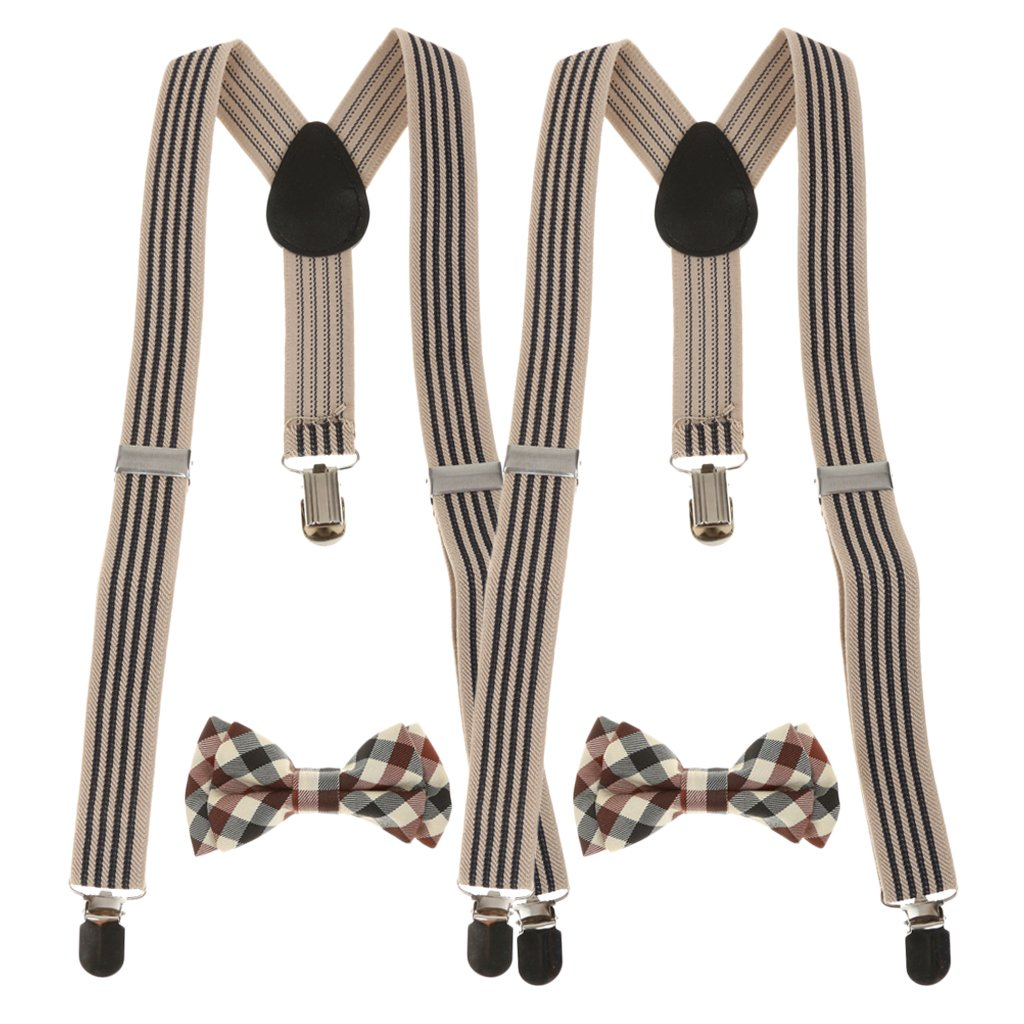 MagiDeal 2 Set Bretelle Clip-On Cinture Sostituzione con Papillon Cravatte per Bambini Ragazzo