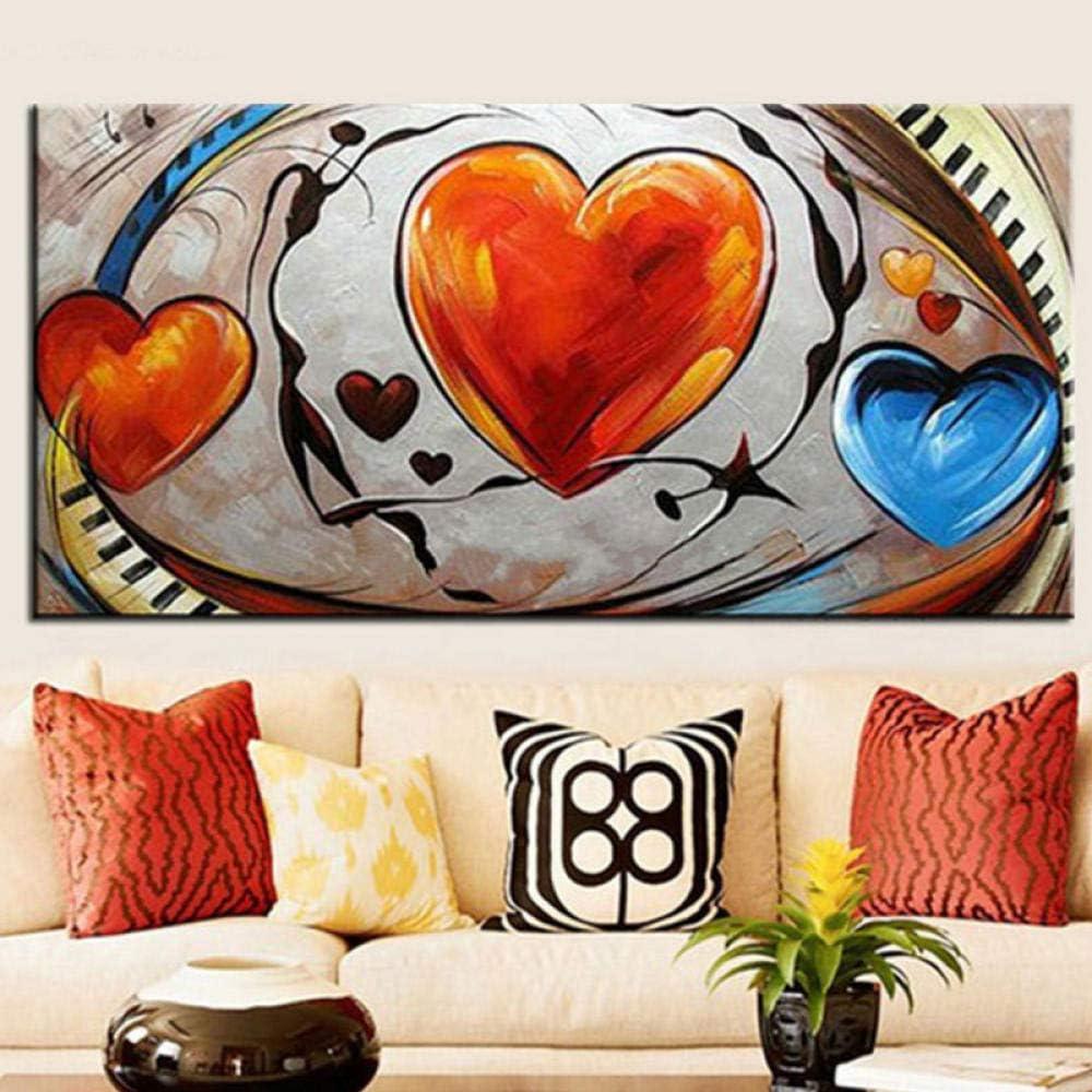 Decoración moderna del hogar Arte de la pared Cuadros grandes abstractos Cuadros, Corazones de amor pintados Pintura sobre lienzo Regalos 60x120cm sin marco