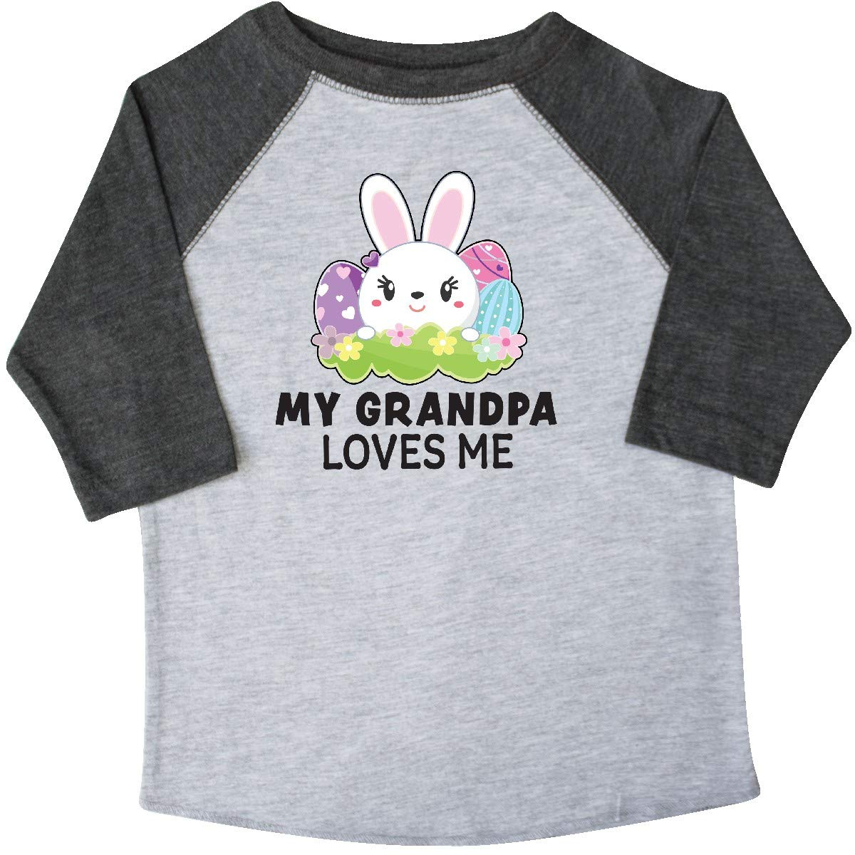 inktastic My Grandpa Loves Me with Bunny and Easter Eggs Toddler T-Shirt
