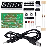"""WHDTS 0.56"""" C51 4 Bits Digital Electronic Clock Kit Red LED AT89C2051 Chip DIY Kits Solder Practice Learning Kits"""
