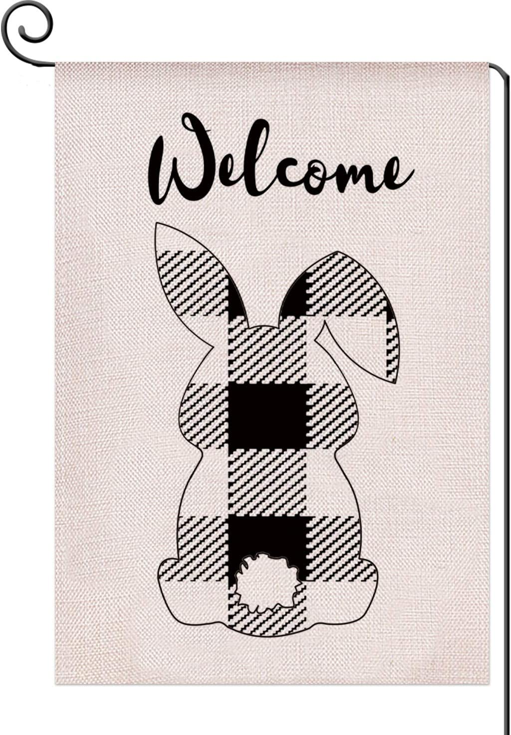 Welcome Easter Cute Bunny Spring Small Garden Flag Vertical Double Sided 12.5x18 inch,Black and White Buffalo Plaid Check Farmhouse Burlap Yard Outdoor Decor