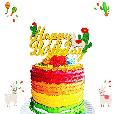 Llama Cactus Cake Toppers Mexicoan Fiesta Themed Baby Girls Boys Birthday Party