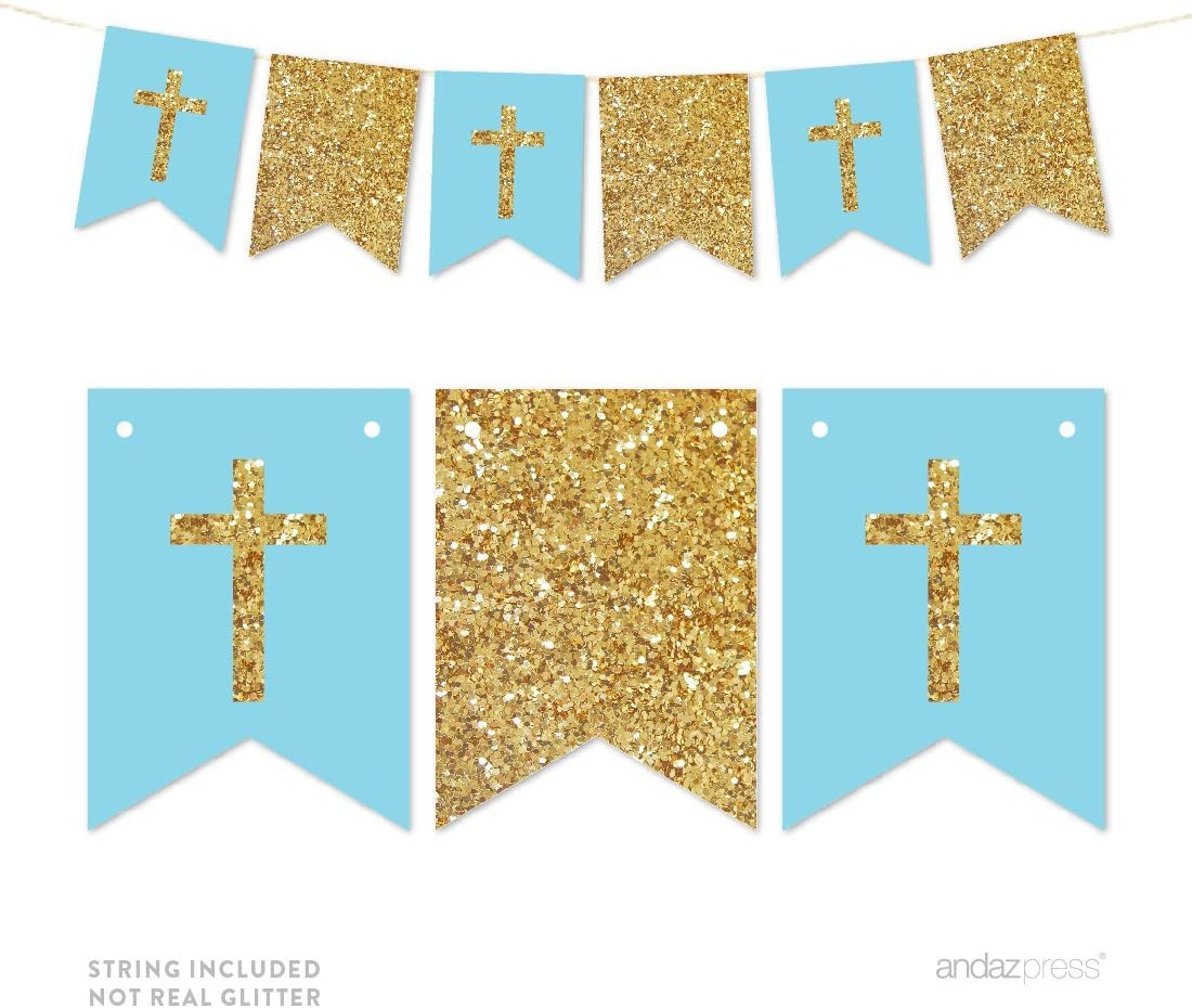 Andaz Press Gold Glitter Print Hanging Pennant Party Banner with String, Boy Baptism Baby Blue and Gold Glitter Crosses, 9-Feet, 1-Set, Decor Paper Decorations, Not Real Glitter, Includes String