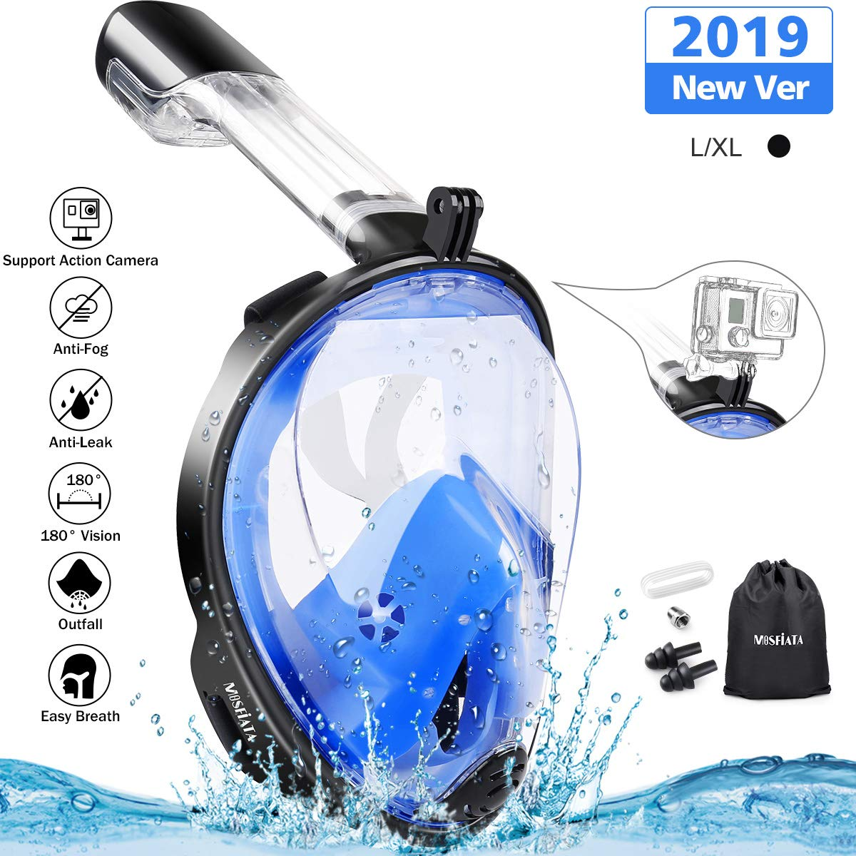 MOSFiATA Snorkel Mask 180° Panoramic View Full Face Diving Mask Anti-Fog Anti-Leak Safety Diving with Detachable Action Camera Mount for Adults and Youth by MOSFiATA