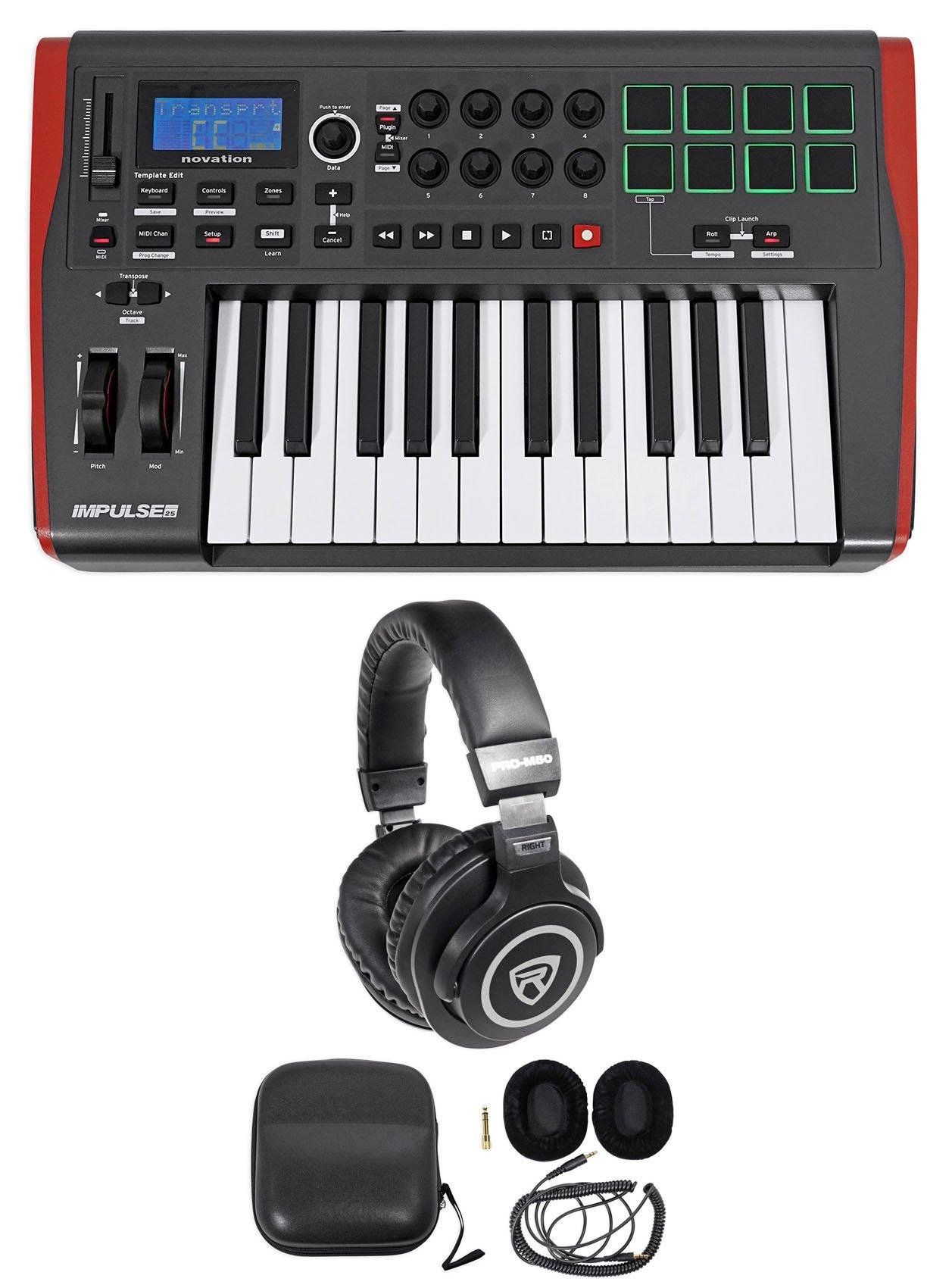 Novation IMPULSE 25 Ableton Live 25-Key MIDI USB Keyboard Controller+Headphones