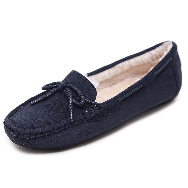 Suetar-SKT Señoras Pelusa Mocasines Otoño e Invierno Elegantes y cálidos Mocasines de Gamuza para Mujer: Amazon.es: Zapatos y complementos