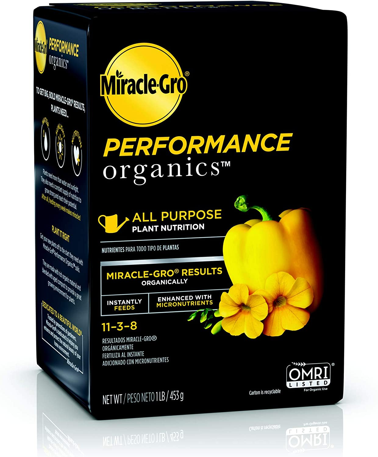 Miracle-Gro Performance Organics All Purpose Plant Nutrition, 1 lb. - All Natural Plant Food for Vegetables, Flowers and Herbs - Apply Every 7 Days for Best Results - Feeds up to 200 sq. ft.