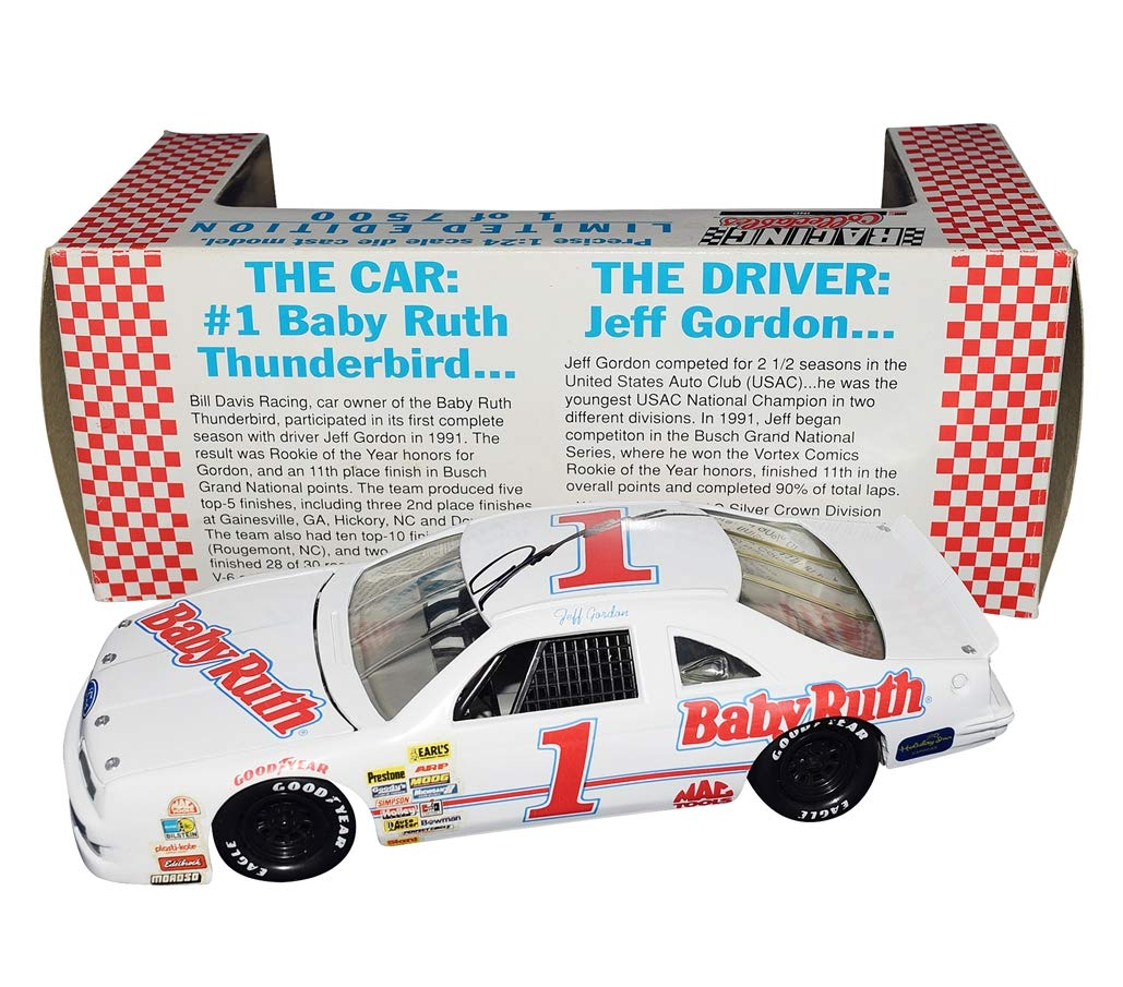 AUTOGRAPHED 1991 Jeff Gordon #1 Baby Ruth Ford Thunderbird (Bill Davis Racing) Busch Grand National Series Vintage Signed Collectible Racing Collectibles 1/24 Scale NASCAR Diecast Car with COA