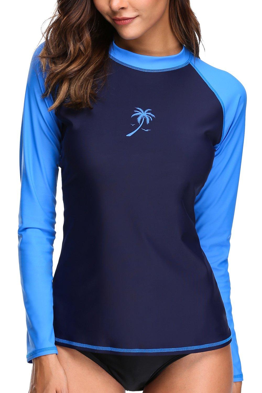 V FOR CITY Womens UV Swim Tee Long Sleeve Rash Guard Swimsuit UPF 50+ Swim Shirts Blue M