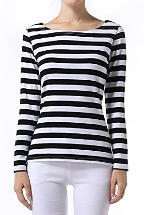 S-ZONE Women's Strip Tops Boat Neck Stripy Jumper Long Sleeve Striped T- Shirt