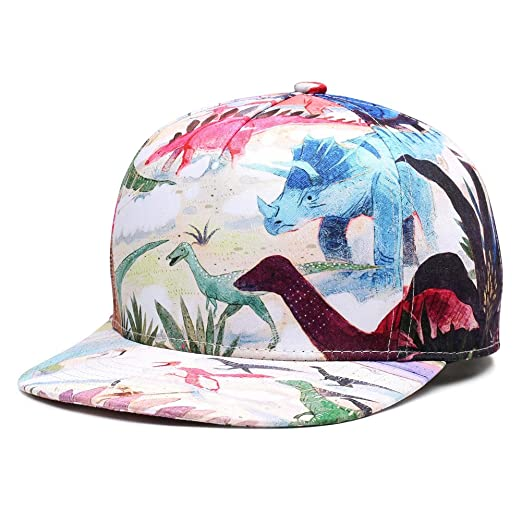 6131545984c0e Image Unavailable. Image not available for. Color: NUZADA GL Novelty  Dinosaurs Summer Flat Hat Unisex Outdoor Snapback Hat 3D Printing  Adjustable Hip Hop