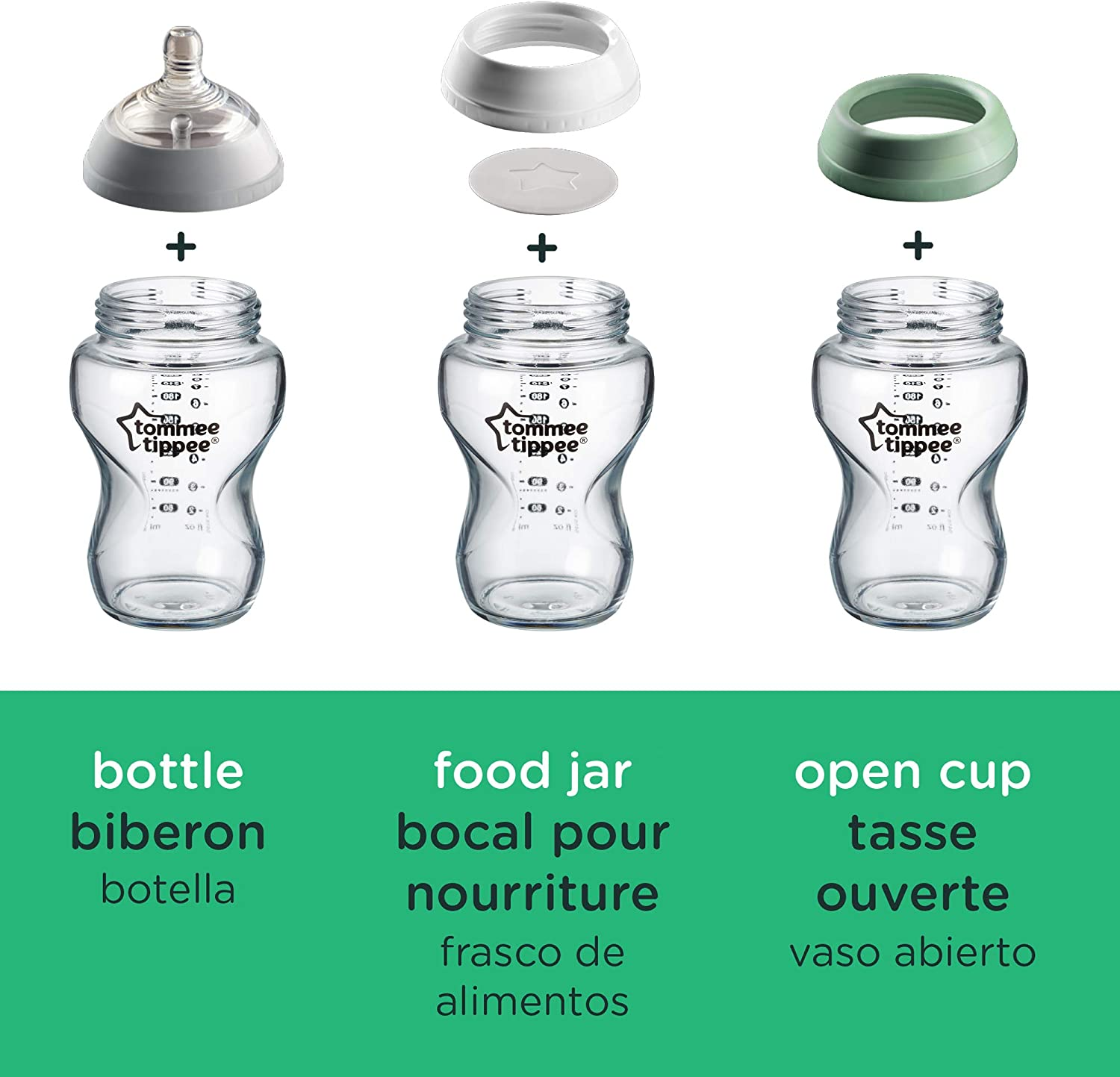 Tommee Tippee Closer To Nature 3 In 1 Convertible Glass Baby Bottles 3ct 9oz