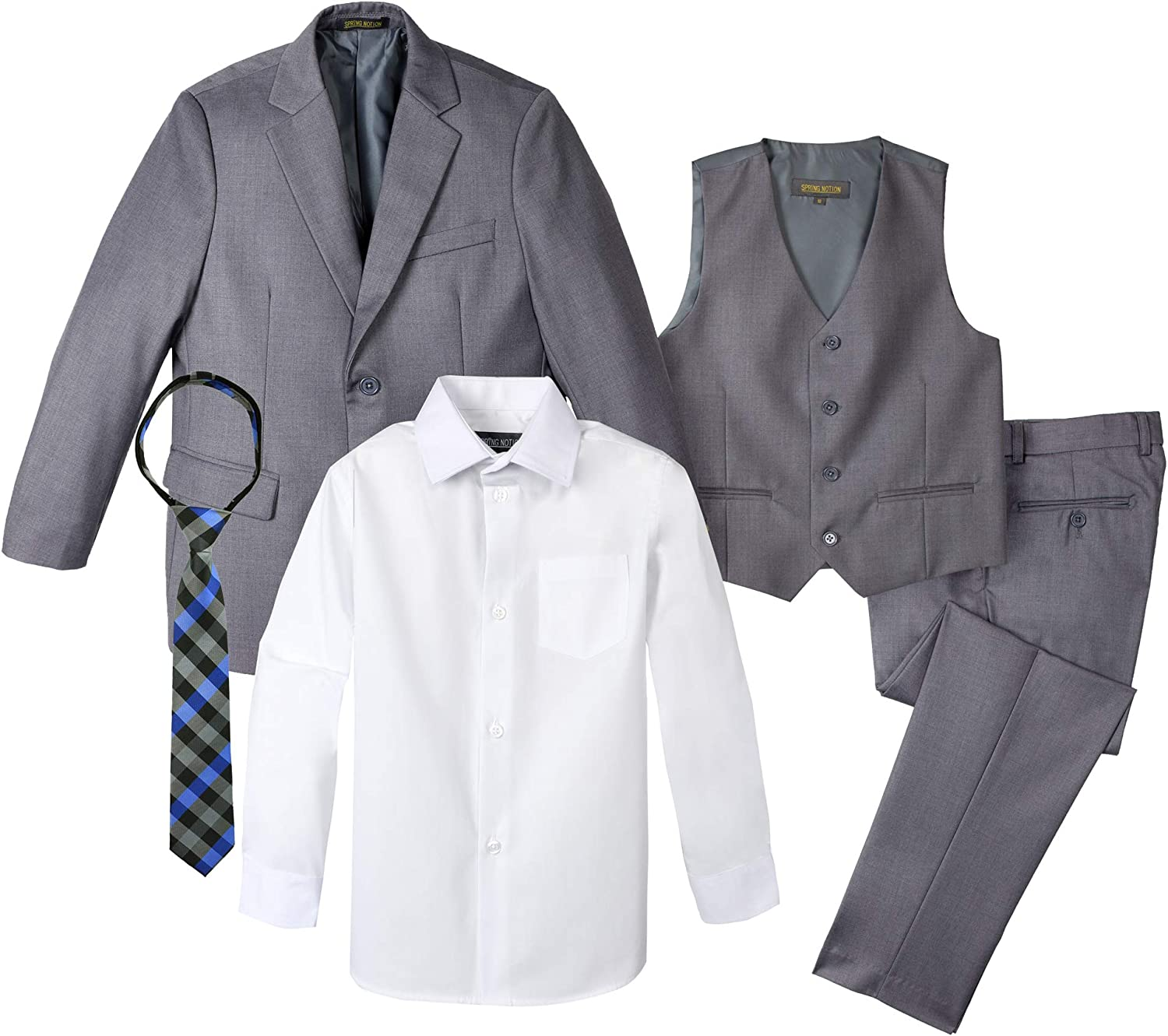 Spring Notion 5 ☆ very popular 4 years warranty Big Boys' Two-Button Grey Set 5-Piece Suit
