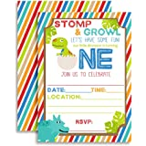 """Dinosaur First Birthday Party Invitations, 20 5""""x7"""" Fill In Cards with Twenty White Envelopes by AmandaCreation"""