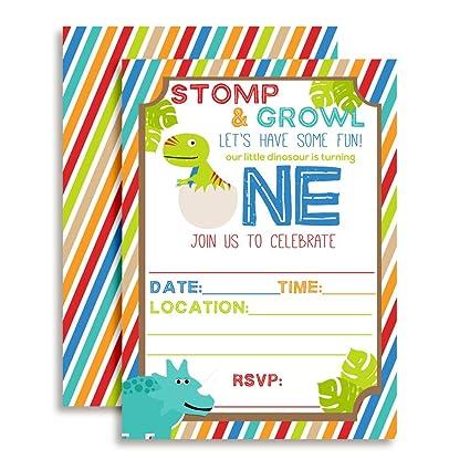 amazon com dinosaur first birthday party invitations ten 5 x7