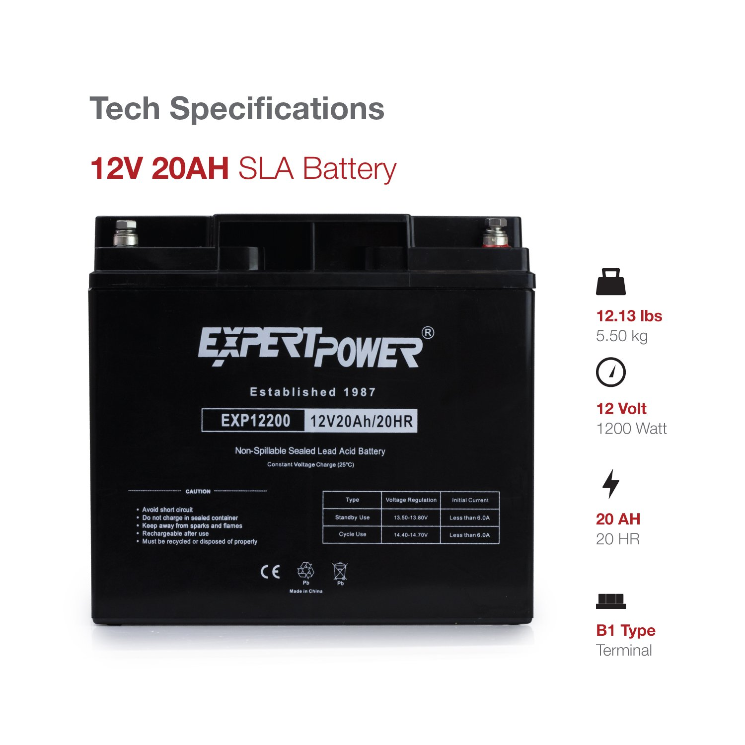 71SH5nbGBtL._SL1500_ amazon com (2 pack) expertpower 12 volt 20 ah rechargeable Fox Lake IL 60020 at creativeand.co