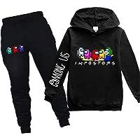 EAROBA Youth Cute Pi-ka-chu Face Pullover Hoodie and Sweatpants Suit for Teen Boys Girls 2 Piece Sweatshirt Set
