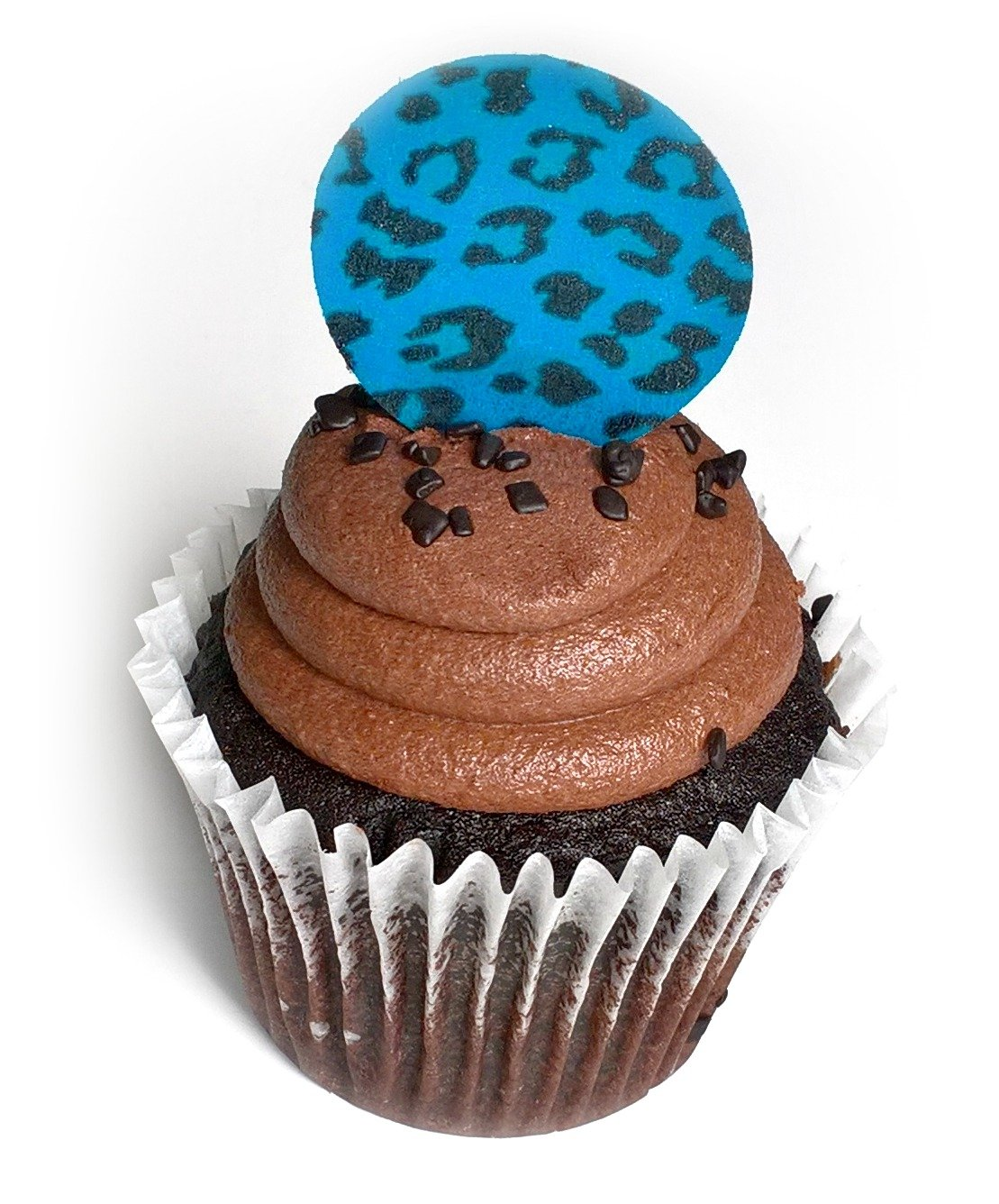Teal Blue Cheetah Leopard Animal Print Wafer Paper Toppers 1.5 Inch for Decorating Desserts Cupcakes Pack of 12