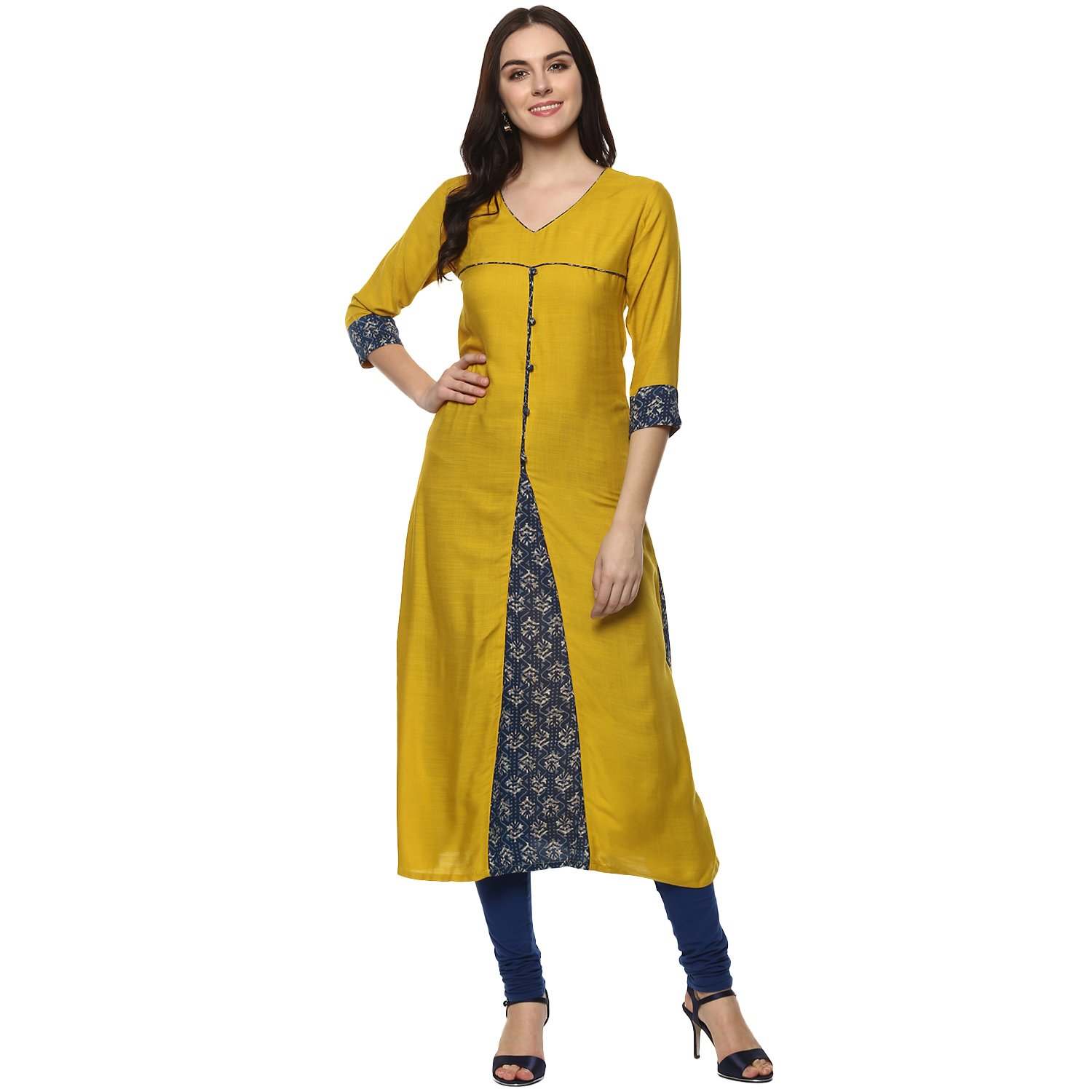 Aahwan Indian Kurtis for Women Mustard Solid and Printed Rayon A-line Half Sleeves Calf Long Dress X-Large Yellow